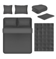 black bed linen mockup set isolated vector image vector image
