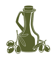 bottle of olive oil and olive branch vector image vector image