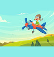 boy flying in airplane funny cartoon vector image vector image