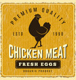chicken poster fresh farm menu logo restaurant vector image