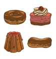 colored set of doughnut pastry cake eclair vector image