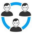 connected social members flat icon vector image vector image