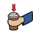 cup in hand vector image vector image