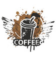 disposable paper coffee cup with wings and straw vector image vector image