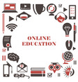 e-learning icon set isolated online education vector image