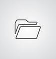 folder outline symbol dark on white background vector image