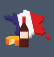 france culture card with flag and wine bottle vector image vector image