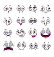 funny cartoon comic faces on white background vector image vector image
