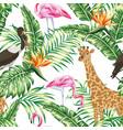 giraffe stork pink flamingo seamless tropical vector image vector image