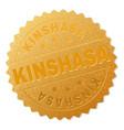 gold kinshasa badge stamp vector image vector image