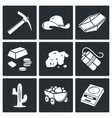 Gold mining Icons Set vector image