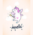 greeting card with cute unicorn with fairy wings vector image