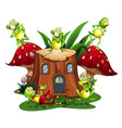 happy frogs on wooden log house vector image vector image