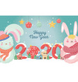 happy new year 2020 celebration cute rabbits with vector image