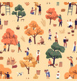 happy people picking fruits seamless pattern vector image vector image