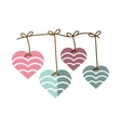 hearts hanging pink and blue decoration shadow vector image vector image