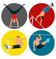 horizontal bar chin-up strong athlete man gym vector image