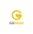 initial letter g with heart love logo design vector image vector image