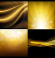 luxury golden backgrounds set vector image