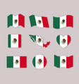 mexico flags collection colorful silhouettes in vector image vector image