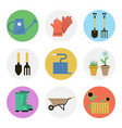 nine color flat icon set - gardening vector image
