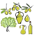 olive and olive oil icon set vector image vector image