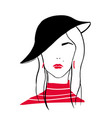 outline portrait stylish young girl stylized vector image