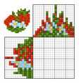 paint number puzzle nonogram strawberry vector image vector image