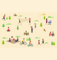 people relax in nature in park leisure vector image