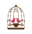 pink bird cage valentine vector image vector image