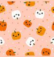 pumpkin jack o lantern halloween seamless pattern vector image