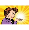 Retro woman advertising and light on the palm vector image vector image