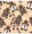 seamless gingerbread and snowflakes vector image vector image