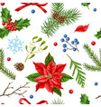 seamless pattern with winter plants vector image