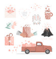 set cute pictures for valentine day red pickup vector image
