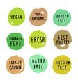 set food badges vegan gluten etc vector image vector image