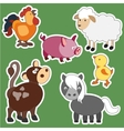 set isolated farm animals vector image