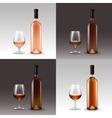 Set of Wine Bottles and Glasses Isolated vector image