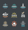 set seafood logos for fish shop and restaurants vector image