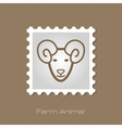 Sheep stamp Animal head vector image vector image