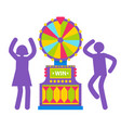 silhouettes man and woman slot machine vector image vector image