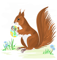 Squirrel and Easter eggs vector image vector image