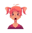Teen girl face surprised facial expression vector image