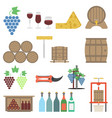 vine making flat icon set vector image vector image