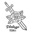 vintage tattoo sword flower background imag vector image