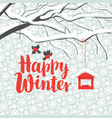 winter landscape with snow-covered tree and birds vector image vector image