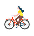 woman riding on bike isolated character vector image vector image