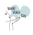 world voice day human face contour side view the vector image vector image