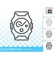 wristwatch simple black line icon vector image