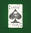 ace spades with skull playing card emblem vector image vector image
